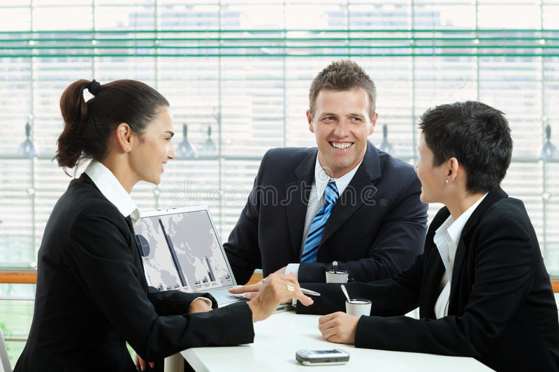 Business talking at cafe royalty free stock images