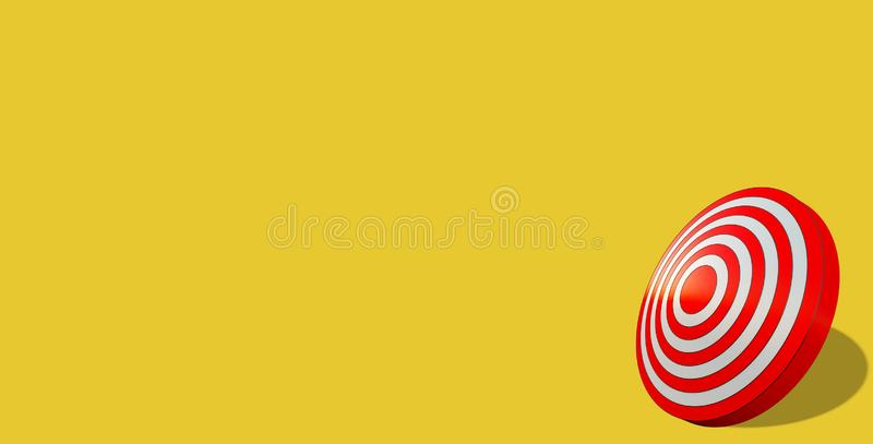 Business target achievement concept. Red target isolated on yellow background. Business concept of success. Red target isolated on yellow background stock illustration
