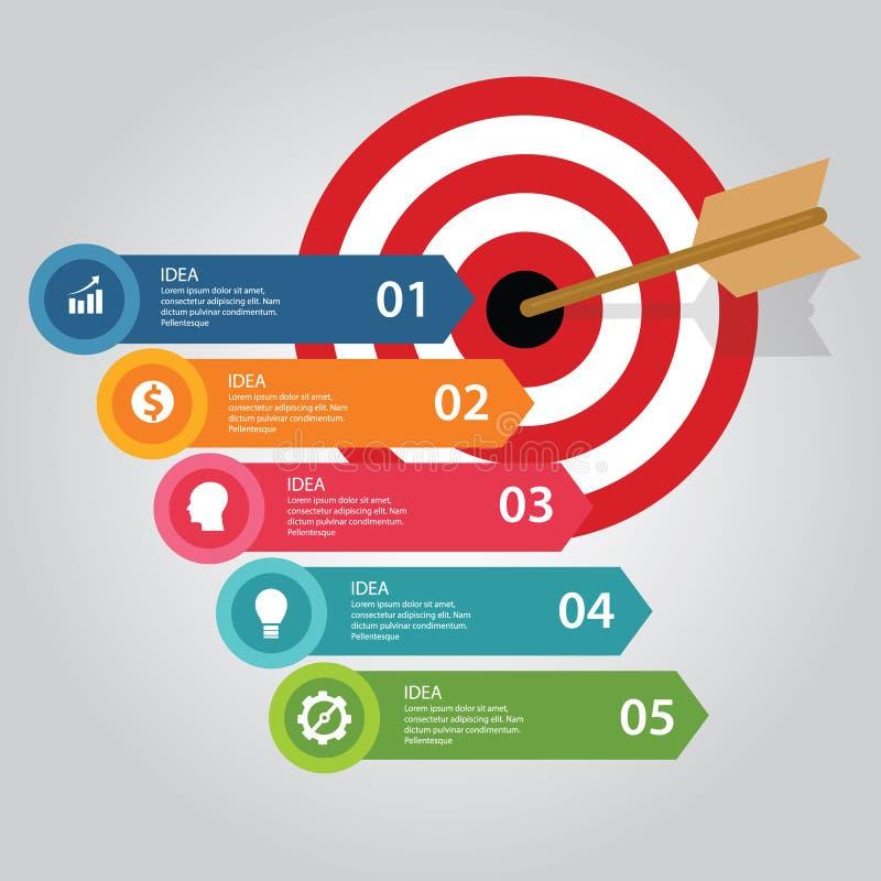Business target infographic dart board arrow concept of goals achievement world map vector illustration
