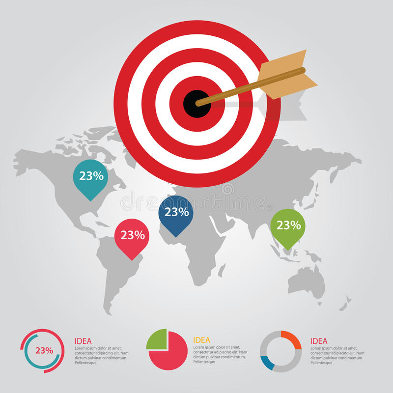 Business target infographic dart board arrow concept of goals business target infographic dart board arrow concept of goals achievement world map vector gumiabroncs Gallery