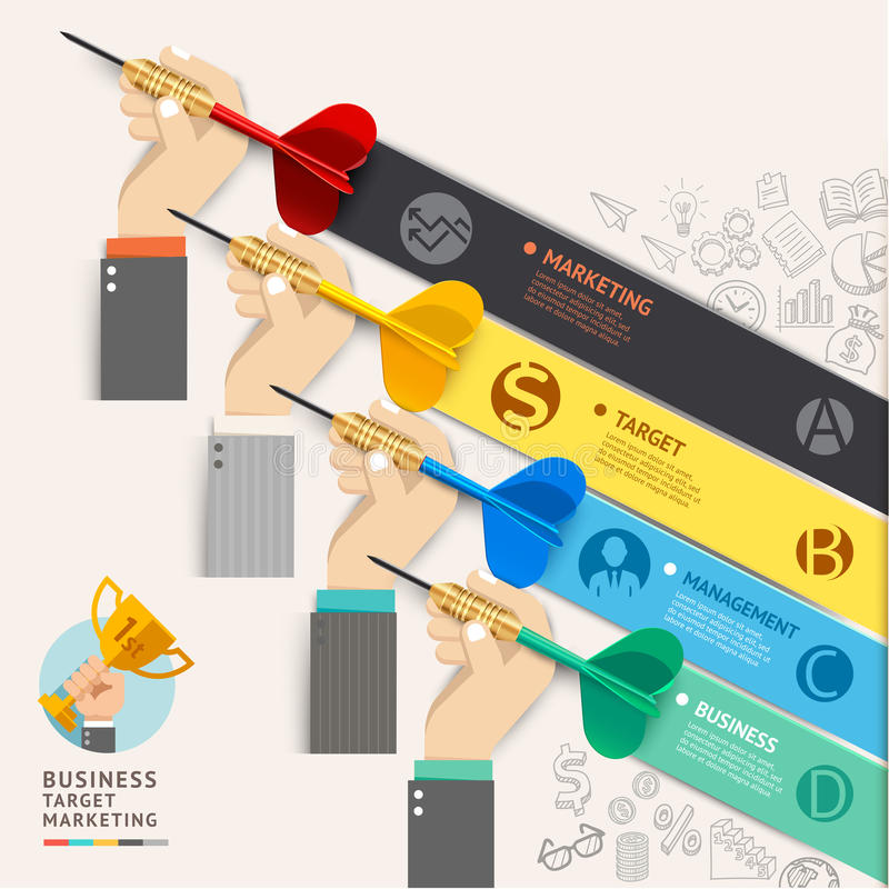 Business target marketing concept. Businessman hand with dart an royalty free illustration