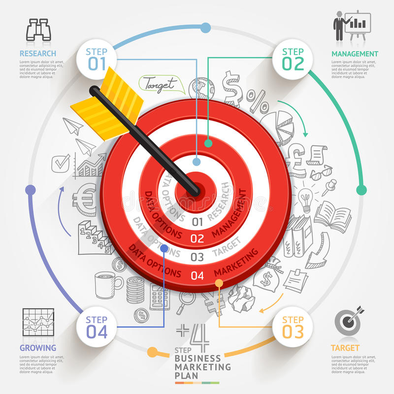 Business target marketing concept. Target with arrow and doodles royalty free illustration