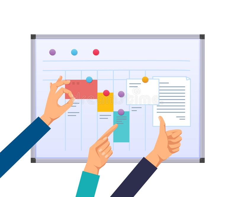 Task planning, teamwork and solutions, multitasking, business planning, work control. stock illustration