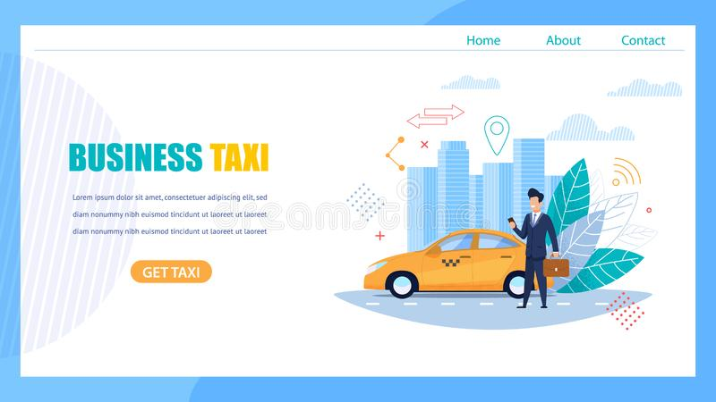 Business Taxi Landing Page. Man Waiting for Car. Business Taxi Landing Page. Man with Case and Smartphone Waiting for Car Order on Street Road. Yellow stock illustration