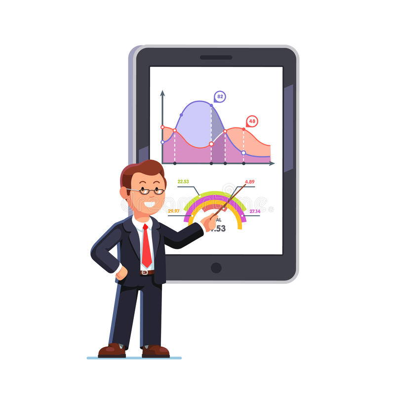 Business teacher showing statistical data graphs stock illustration