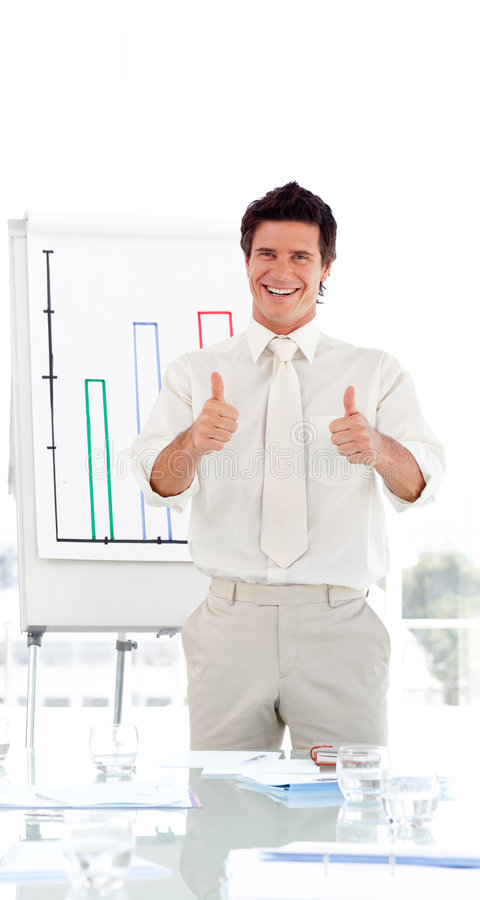 Business teacher standing before class royalty free stock photography