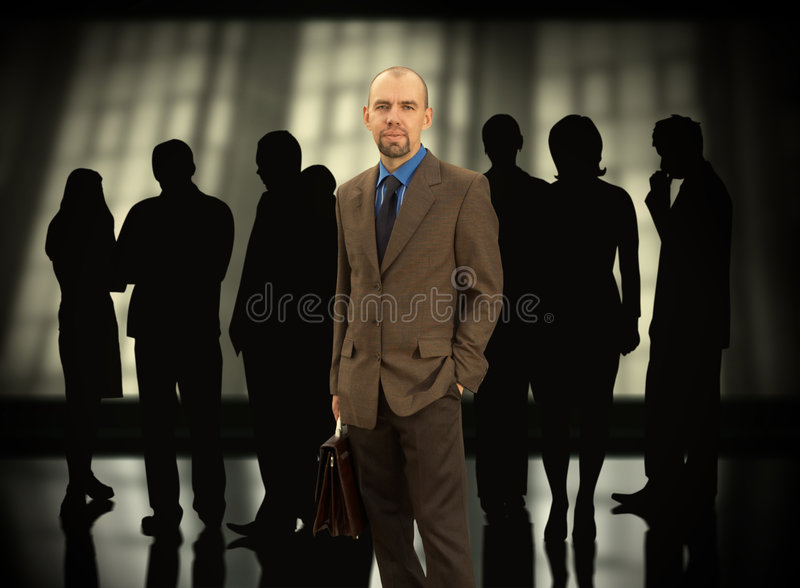 Business team. Businessman with his group(made from my images,special f/x stock image
