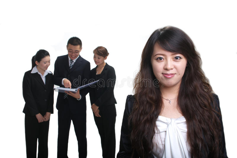 Business team. With a woman portrait stock photo