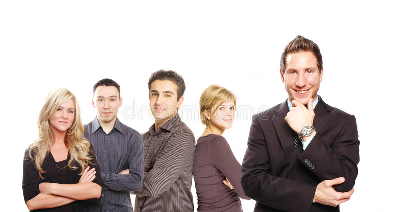 Business team. A bright business team posing as a group royalty free stock photo