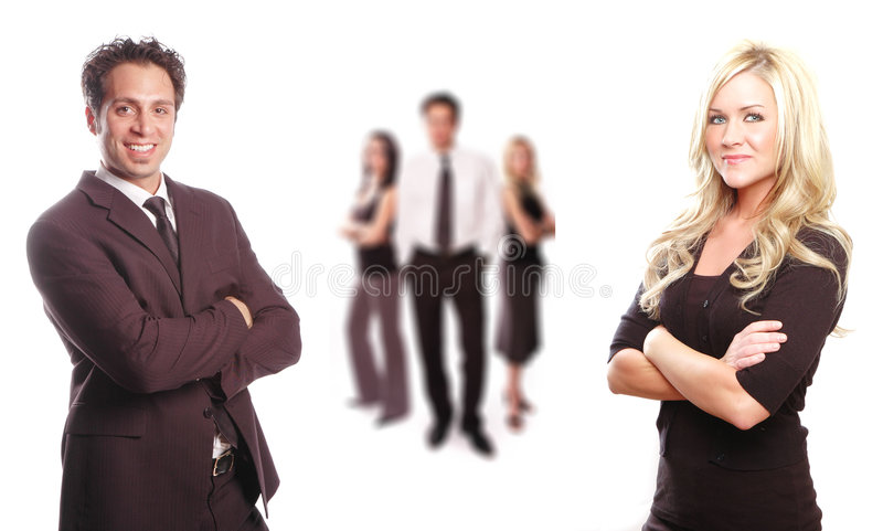 A business team. Business team with its members are posing royalty free stock photos