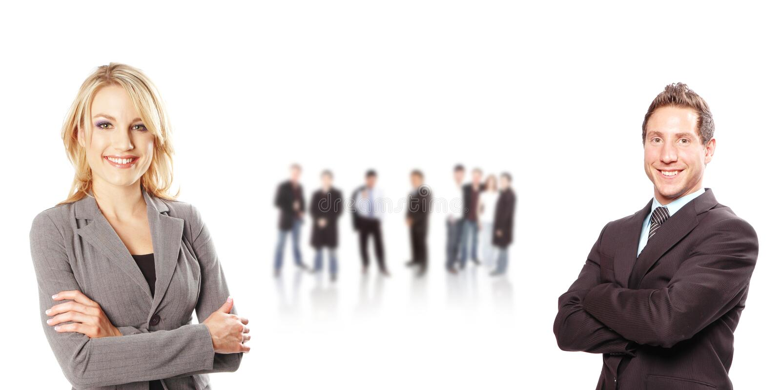 Business team. Is posing with its members royalty free stock images