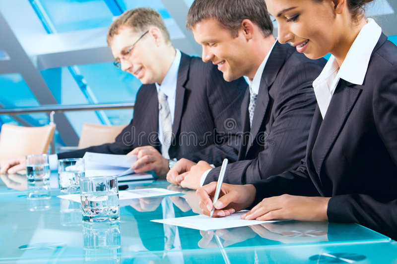 Business team. Portrait of business team in the conference room stock image