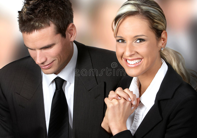 Business team. Business man and business woman stock image