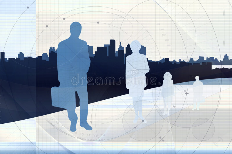 Business Team. Illustrated outlines of four individual businesspeople against the silhouette of a city skyline, superimposed on technical paper royalty free illustration