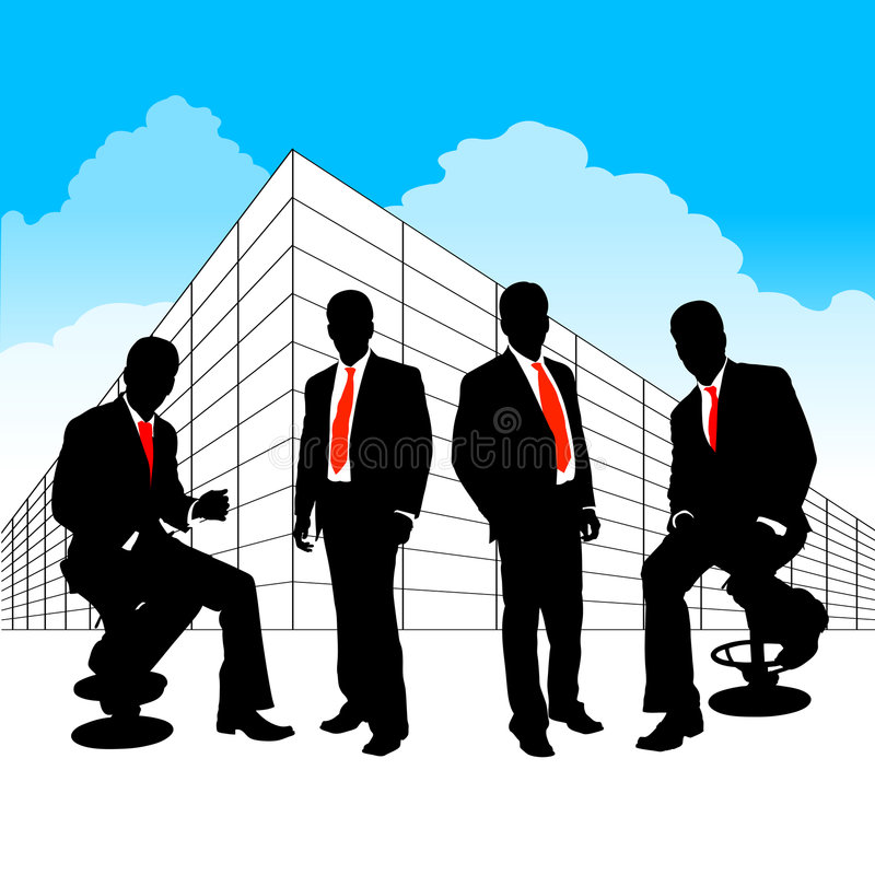 Business team. Peoples in front of company stock illustration