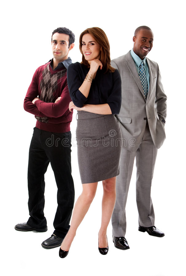 Business team. With a beautiful Caucasian woman in front of an African and Caucasian men in suits, isolated