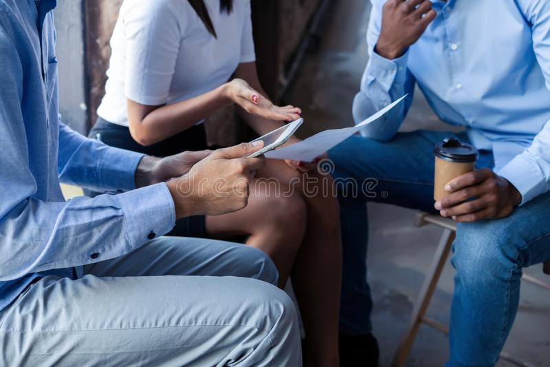 Business team analyzing income charts and graphs with modern laptop computer. Close up.Business analysis and strategy stock photo