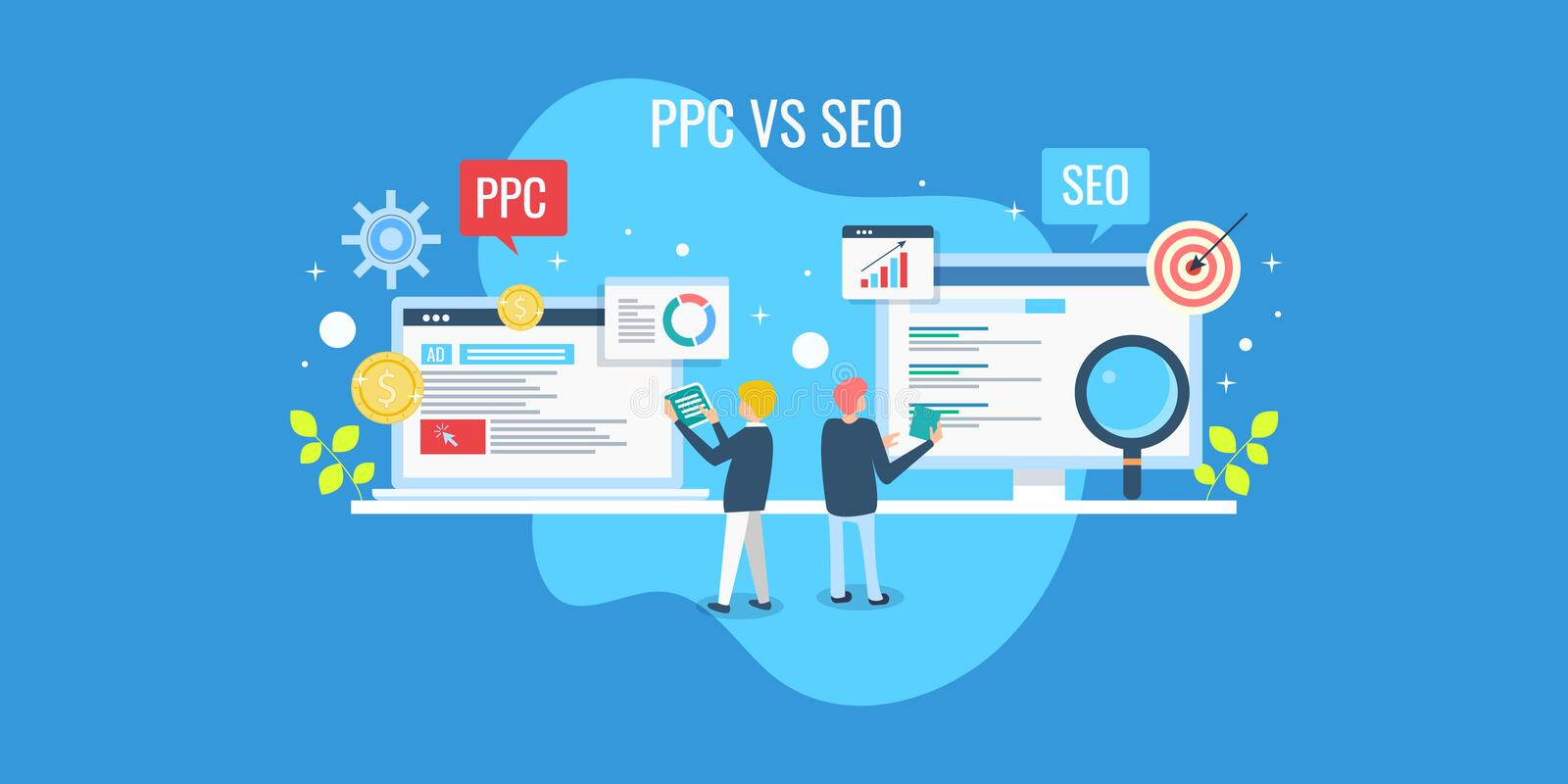 Business team analyzing ppc and seo performance result, comparison of search marketing and seo optimization concept. royalty free illustration
