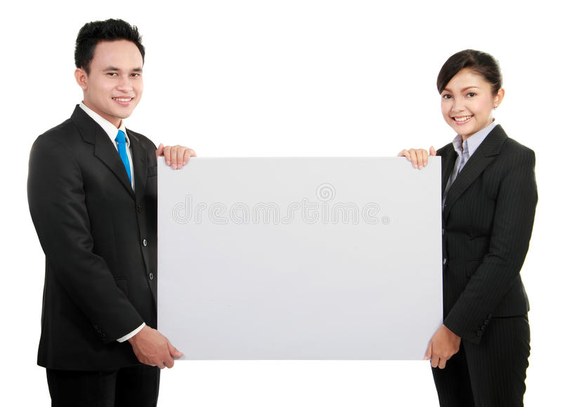 Business team with big blank card stock image