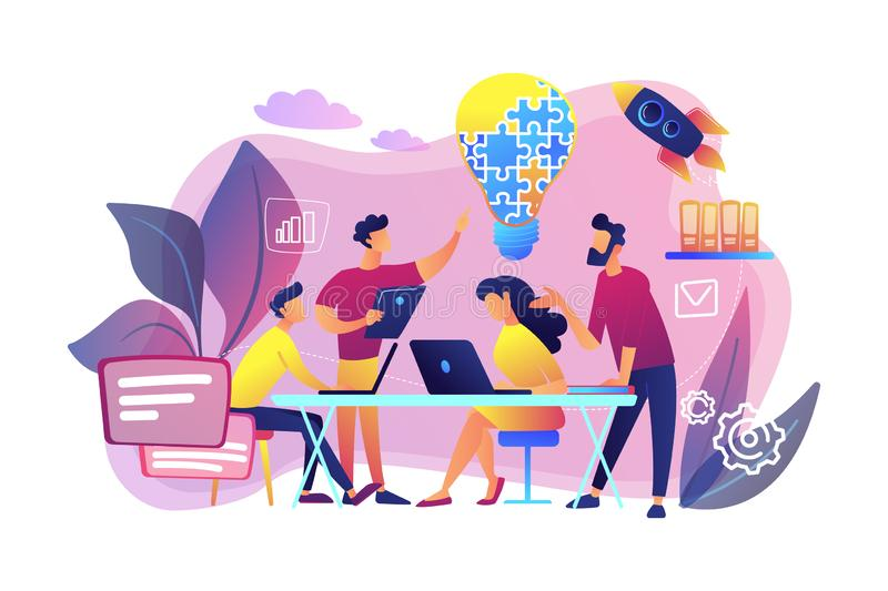 Collaboration concept vector illustration. Business team brainstorm idea and lightbulb from jigsaw. Working team collaboration, enterprise cooperation stock illustration
