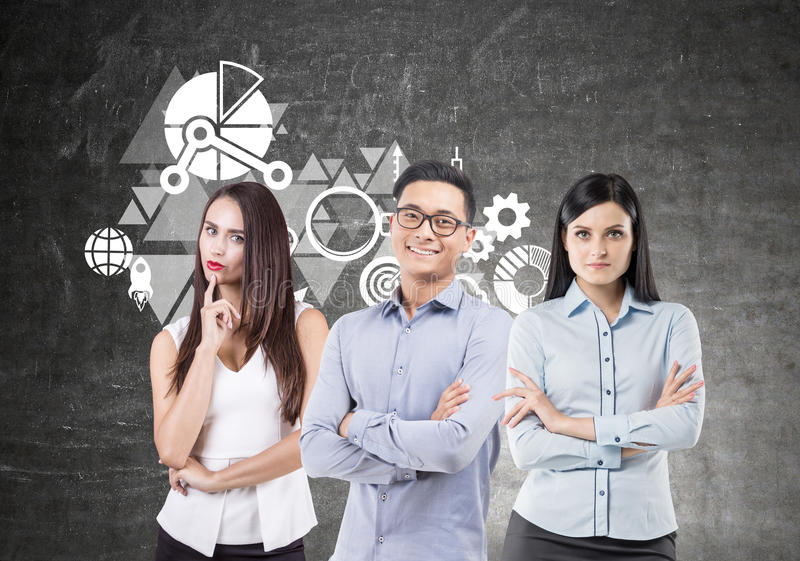 Business team brainstorming, blackboard royalty free stock images