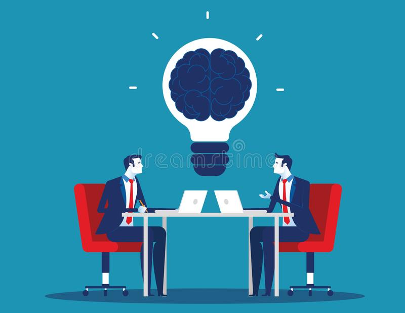 Business team with brainstorming. Concept business vector illustration. Flat character cartoon design style vector illustration