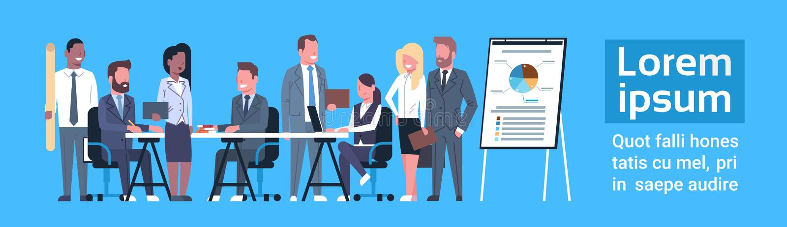 Business Team Brainstorming Concept Group Of Businesspeople Professionals Meeting Discussing Report Market Data vector illustration