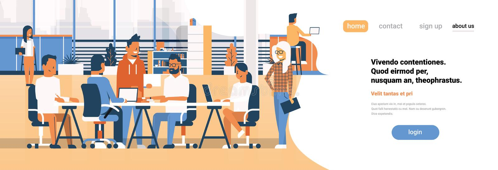 Business team brainstorming meeting group businesspeople sitting together office discussing flat banner copy space. Vector illustration stock illustration