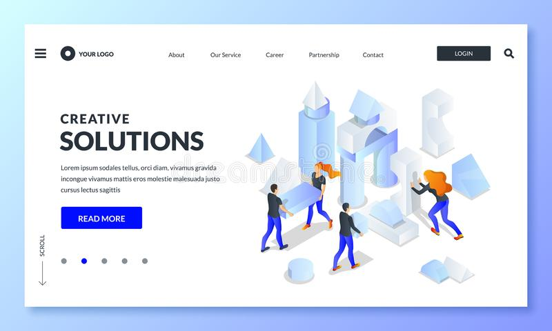 Business team build creative construction from multicolor 3d shapes. Vector isometric illustration. Teamwork concept. Business team build abstract creative stock illustration
