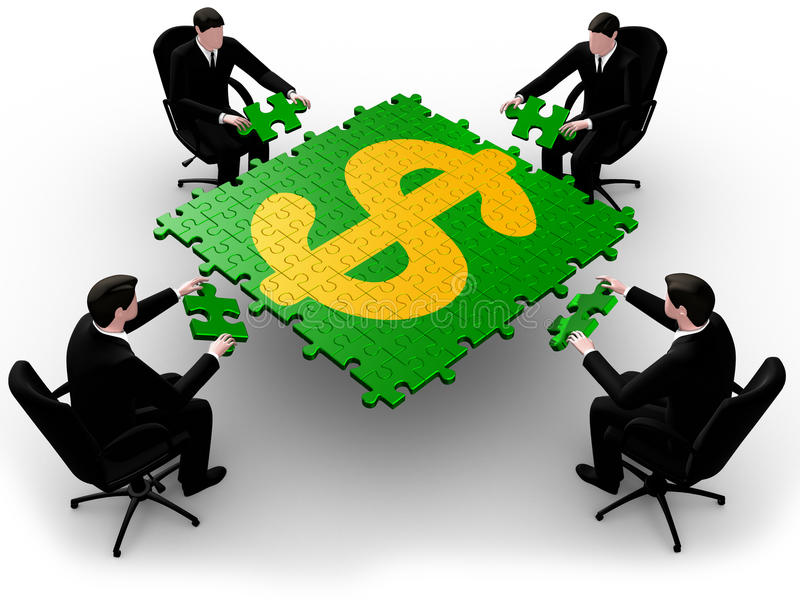 Business team building a dollar puzzle royalty free illustration