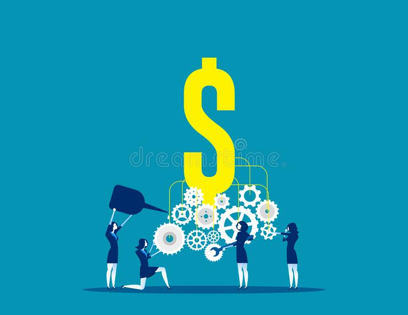 Business team building a money machine. Concept business vector, Machine, Gear,  Teamwork stock illustration
