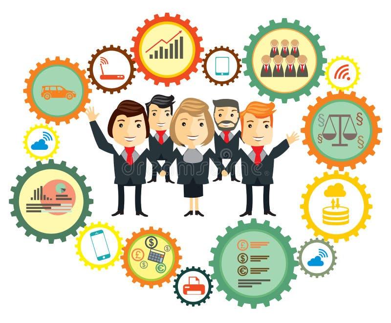 Business team. Cartoon characters vector illustration