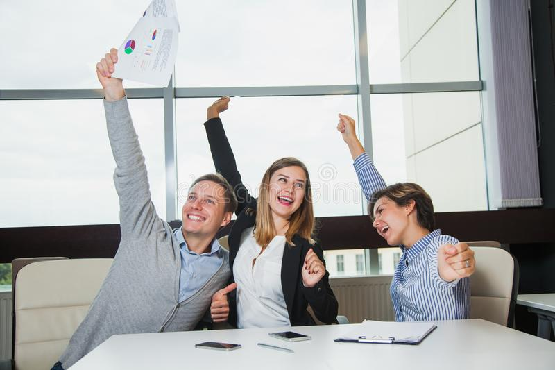 Business team celebrate victory success goal achievement happy smile royalty free stock photography