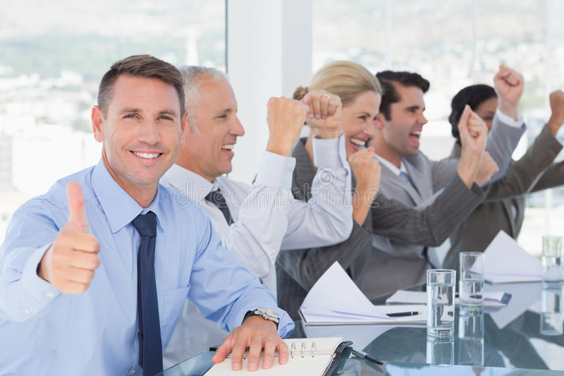 Business team celebrating a good job royalty free stock images