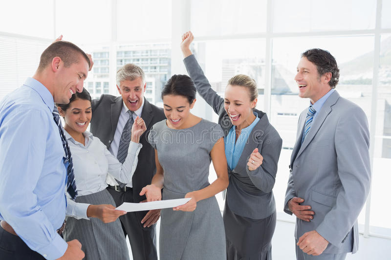 Business team celebrating a new contract stock photos