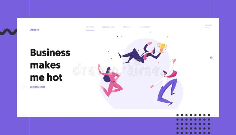 Business Team Celebrating Success Banner Template. Businessman with Winner Cup. Group of Cheering People Celebrate royalty free illustration
