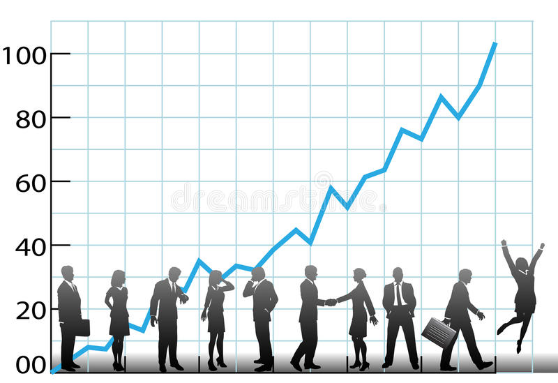 Business team chart company growth vector illustration