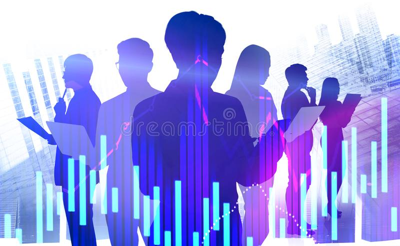 Business team in city, forex charts royalty free stock photo