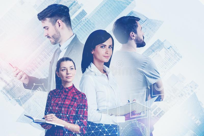 Business team in city, virtual interface royalty free stock photography