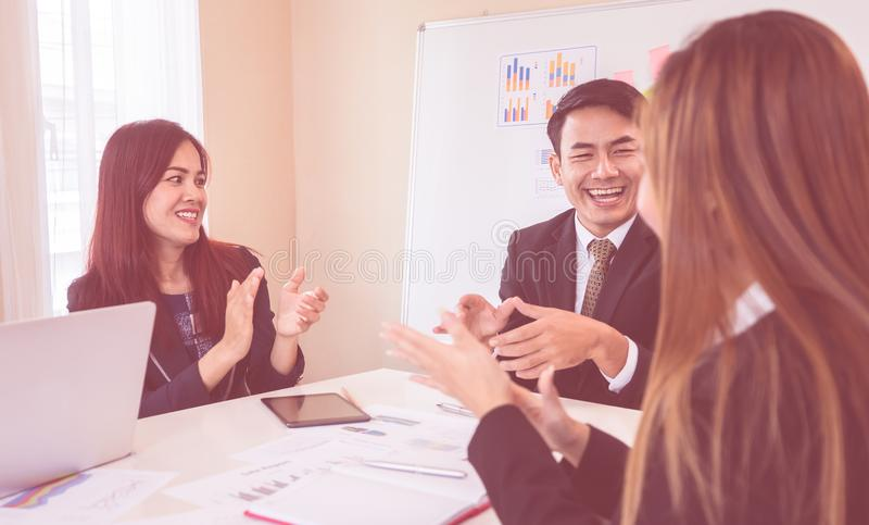 Business team is clapping applaud for success meeting. Business team is clapping applaud for successful meeting stock images