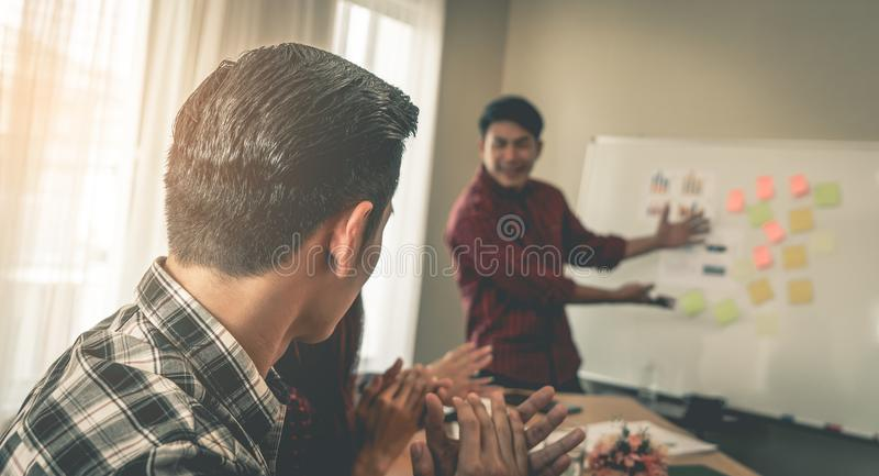 Business team clapping applaud for successful meeting. Business team is clapping applaud for successful meeting royalty free stock photo