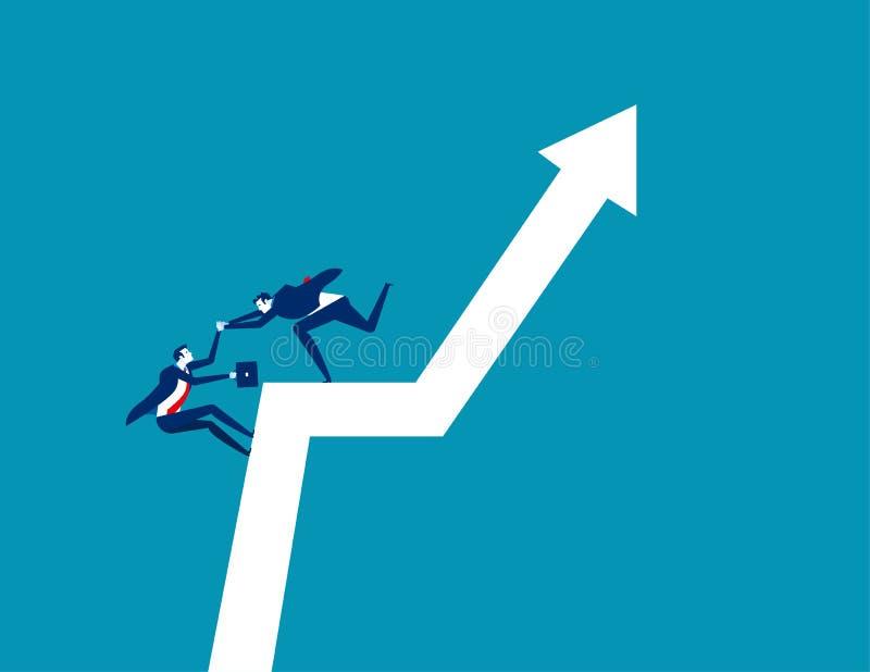 Business team climb positive graph. Concept business vector, Growth, Direction, Teamwork stock illustration