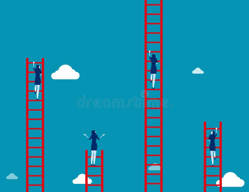 Business team climbs to the ladder. Concept business vector illustration vector illustration