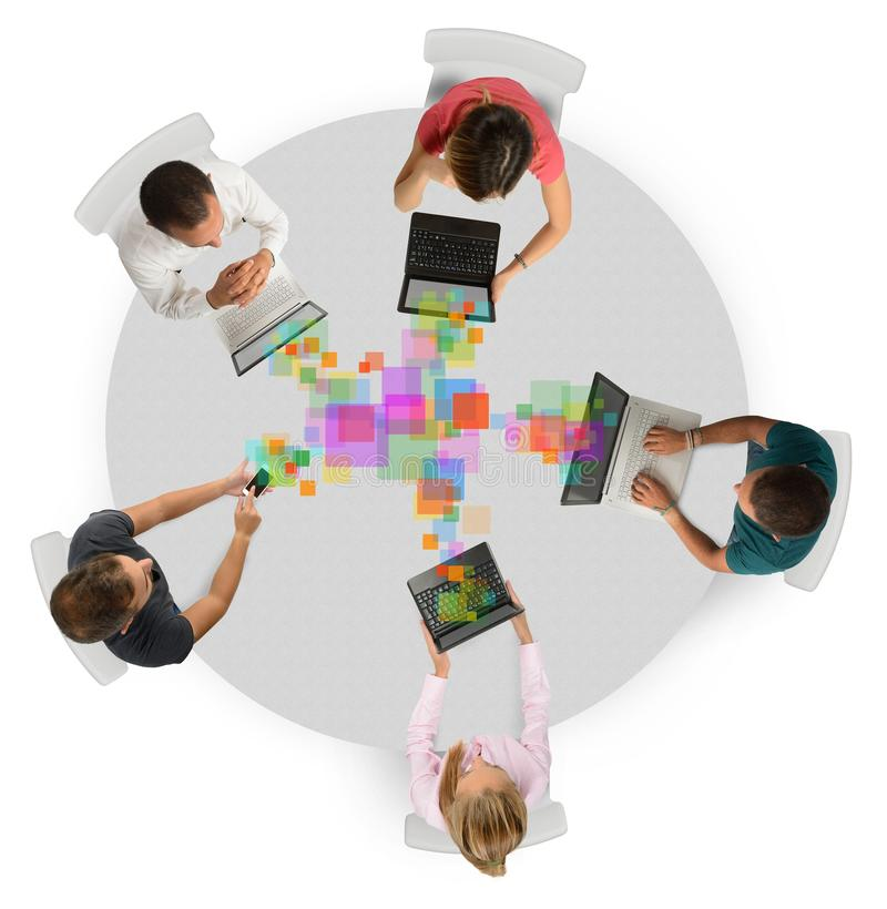 Business team collaborate. Together sharing work projects stock illustration