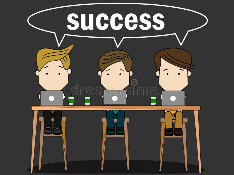 Business team collaborate together sharing work. Projects. Cartoon flat funny concept royalty free illustration