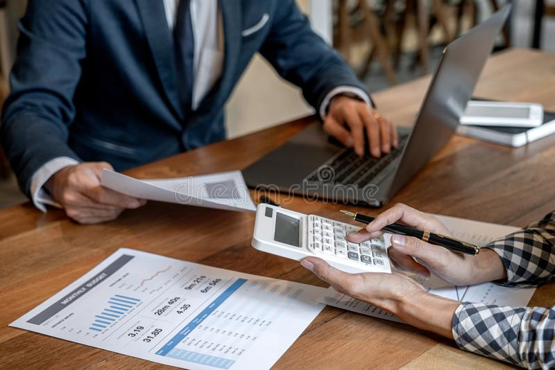 Business team collaboration discussing working analysis with financial data and marketing growth report graph in team to making. Growth profit, Partner meetings royalty free stock image