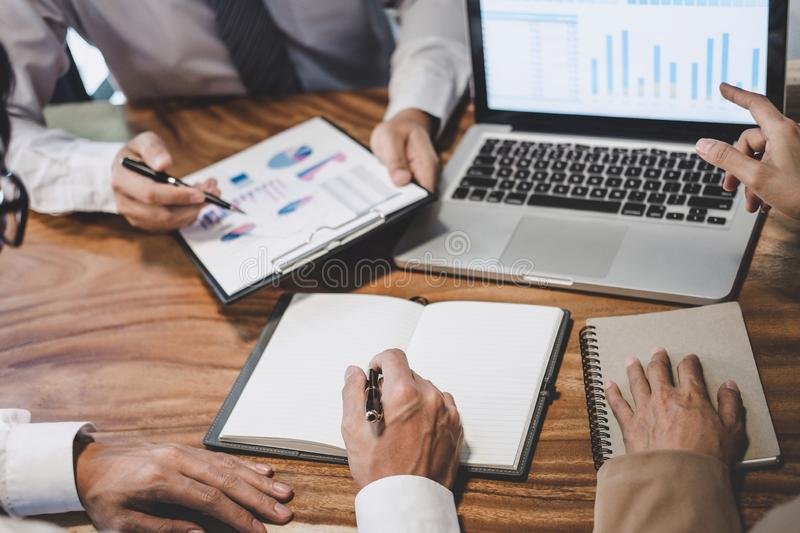 Business team colleague working with new startup project plan and discussion information for financial strategy with laptop, royalty free stock image
