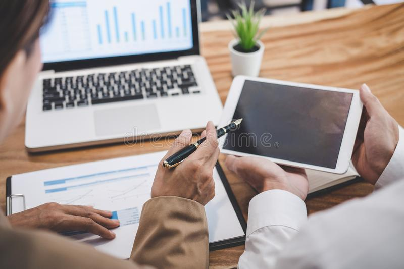 Business team colleague working with new startup project plan and discussion information for financial strategy with laptop and royalty free stock photography
