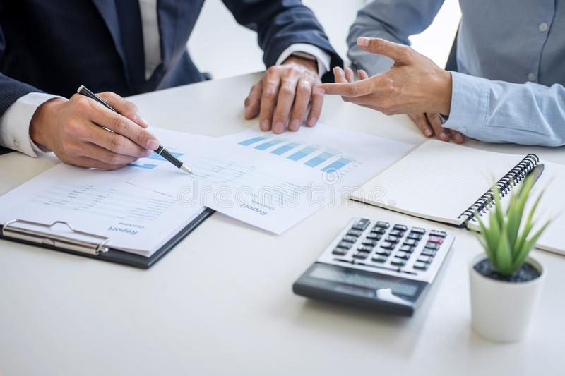 Business team colleagues discussing working analyzing with financial data and marketing growth report graph in team consultation royalty free stock photos