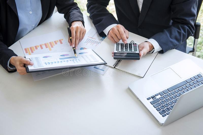 Business team colleagues discussing working analyzing with financial data and marketing growth report graph in team consultation stock images
